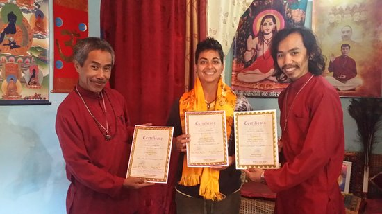 GN Reiki Meditation Center: Baba, Kendra and myself: I received my Certificate for Reiki 3A, Lama Fera and Mudra Vigyan