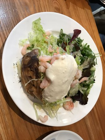 Roast and Ground: We had these lovely jacket potatoes with fresh salad cottage cheese and doing onion and my frien
