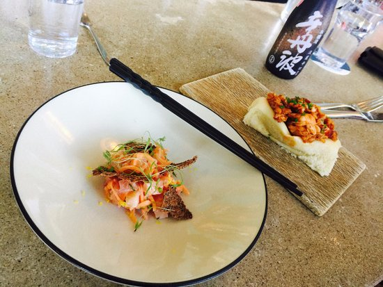 Eventide Oyster Company: Pickled salmon (left) and the lobster roll (right) at Eventide.