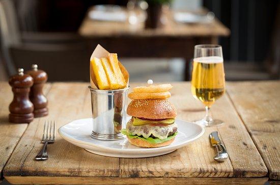 The Barn at Coworth Park: Coworth Park burger, brioche bun, cheddar cheese and dill pickle