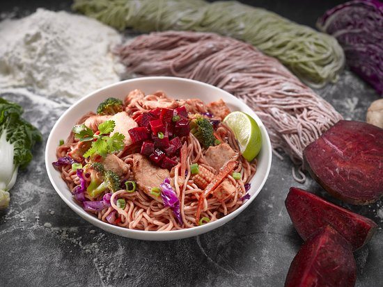 Noodle Wok: Our Beet & Sour Sauce with Handmade Noodles.