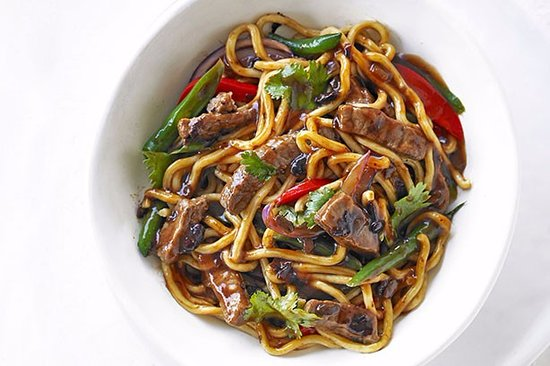 Noodle Wok: Our Best Seller: BBQ Teriyaki Sauce with Handmade Noodles.