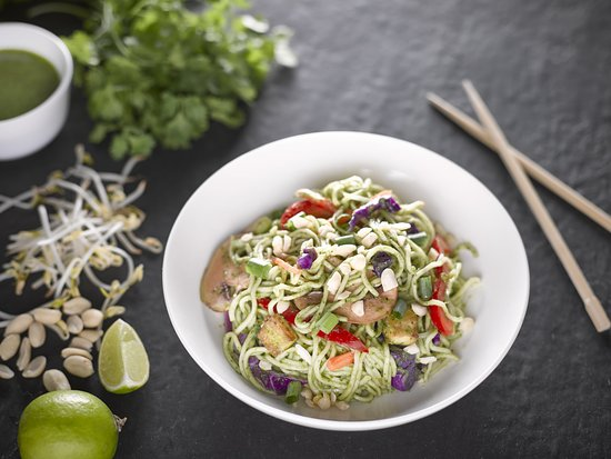 Noodle Wok: Our Green Soybean (Miso Coriander) Sauce with Handmade Noodles.