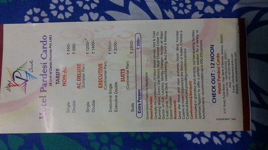 Saharsa, India: Tariff card 2017