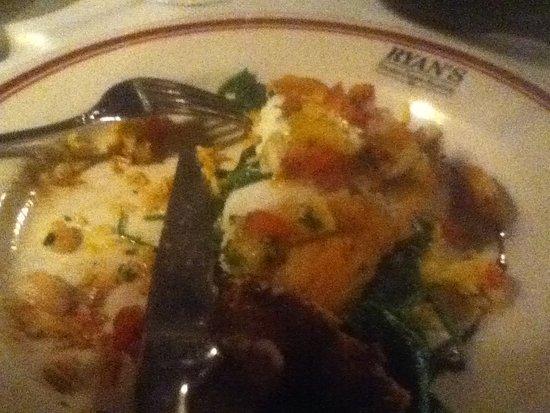 Ryan's Steak Chops & Seafood: Seabass (partially eaten)