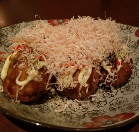 Sushi Ken: Takoyaki:  octopus, ginger, onion, battered - NOT GLUTEN FREE