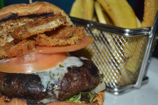 The Blue Room Sports Bar & Grill: Homemade burgers...six different types on offer