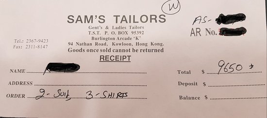 Sam's Tailor: This is my receipt.