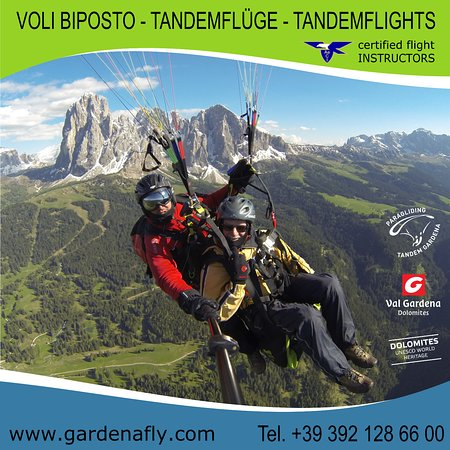 Selva di Val Gardena, Italia: Tandemflying Gardenafly with certified Flying Instructors, Summer and Winter!