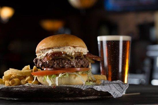 Fionn MacCool's (London South): Fresh ground chuck, hand-cut smoked bacon, beer-braised onions.