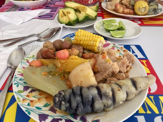 5Bogota: A typical country Colombian dish with various potatoes, tubers, and meats. Try this or other dis