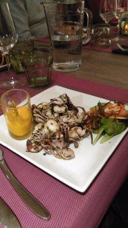 Besse-sur-Issole, França: Salade de poulpes et petites sèches accompagnée d'une rouille maison, je recommande cette entrée