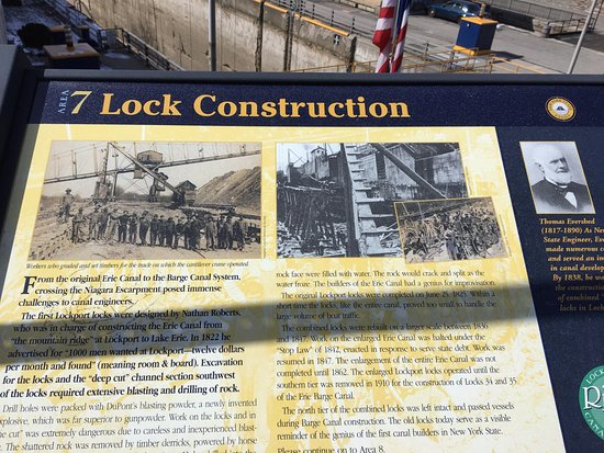 Lockport, NY: Erie Canal locks and park historic sign