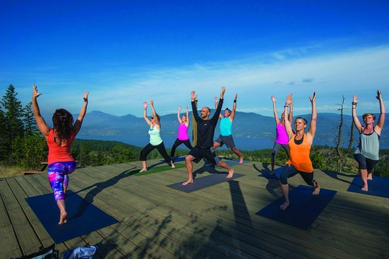 Vernon, Canada: Outdoor yoga platform - overlooking Okanagan Lake