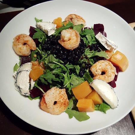 Bethesda, MD: Roasted chioggia beet salad with shrimp.