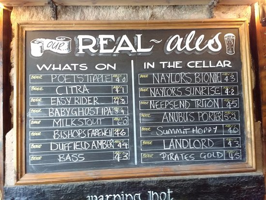Crich, UK: menu of Ales
