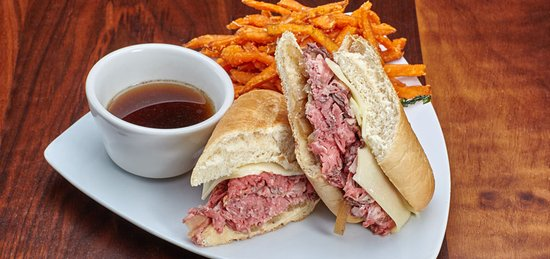 Balboa Island, CA: Prime Rib Dip Sandwich with Sweet Potato Fries