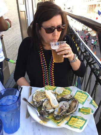 Royal House: Start of a great meal, charbroiled oysters and Abita beer