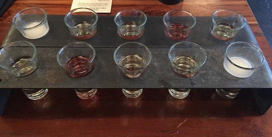 Takashi: Deluxe Sake Flight (two sets) & menu