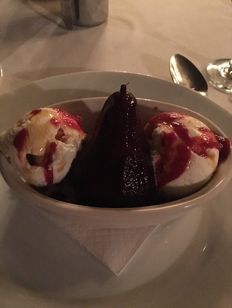 Camillo's at the Crossroads: Baked pear with vanilla ice cream in a raspberry sauce?