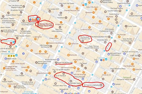 sheraton new york times square hotel hotel area map with major attractions subway stations