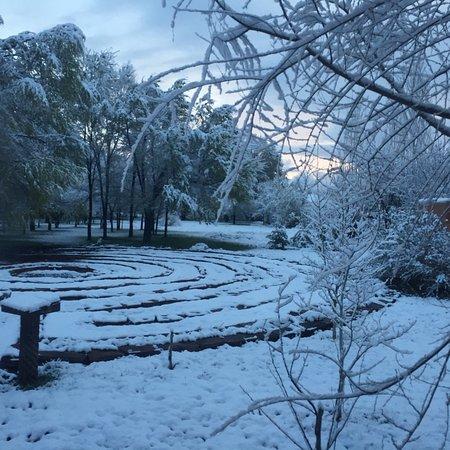 Ranchos De Taos, NM: The Labyrinth after fresh snow