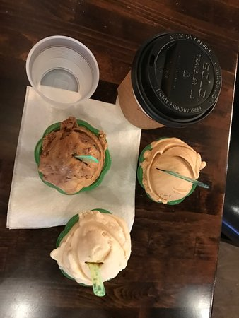Canarino Gelato: Our three different gelato, and one coffee