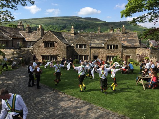 Chinley, UK: Morris dancing on the lawn