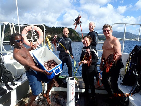 Roseau, Dominica: The Lion fish hunt was a sucess. And the chef grilled them to perfection!