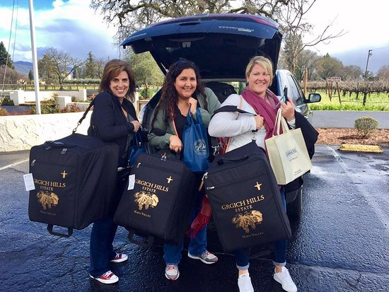 Grgich Hills Estate: WE all have our own traveling wine roller for all our weekend purchases!