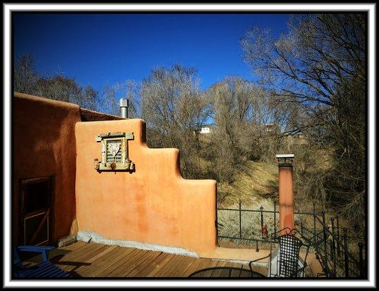 Ranchos De Taos, NM: The porch attached to Violetta