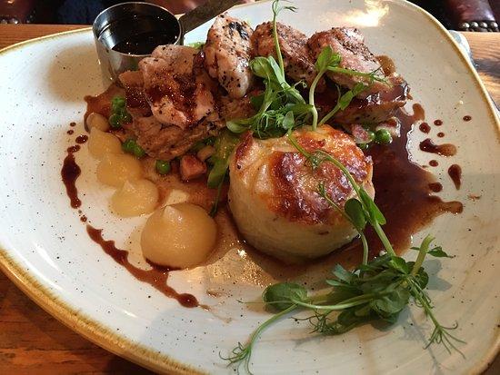 Brearton, UK: Duo of pork - delicious!