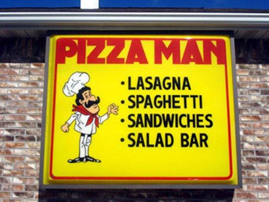 Pana, إلينوي: Pizza Man Sign