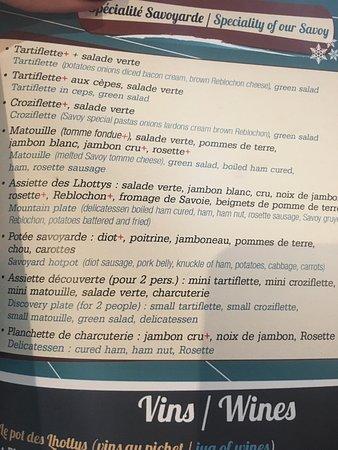 Verchaix, France : The menu