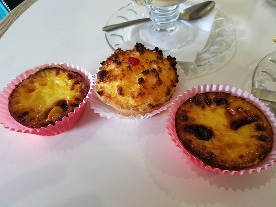 Mineola, NY: Chocolate embedded egg custard tarts and in the middle a coconut macaroon tart! DELISH!