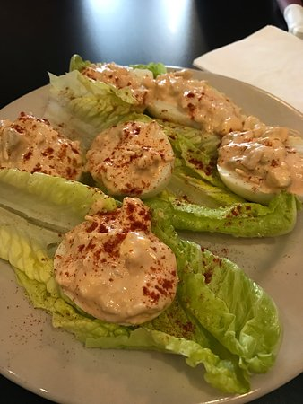 Clare, MI: Buffalo Horns(buffalo chicken deviled eggs)
