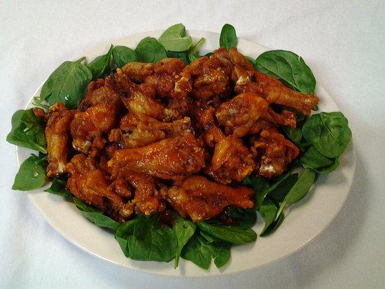 Fairburn, GA: hot wings, mild, BBQ, Teriyaki, lemon pepper, honey teriyaki, and BBQ Teriyaki