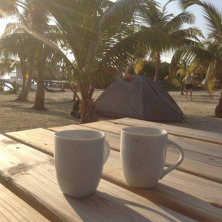 Caye Caulker, Belize: Morning coffee on Ragga Caye.