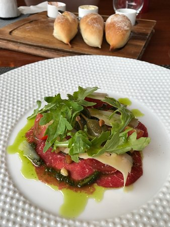 Dining at Makati Shangri-La Manila: Beef Carpaccio - the Pickled Caper berry made the taste better. Yum.