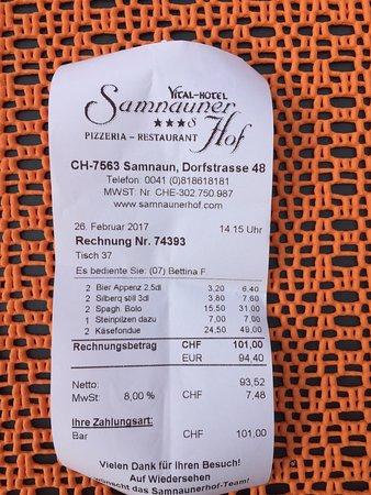 Vital-Hotel Samnauner Hof : the bill