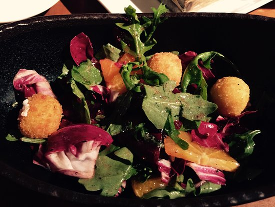 Extra Virgin: Duck tongue with beet goat cheese salad and ricotta and hot churros.