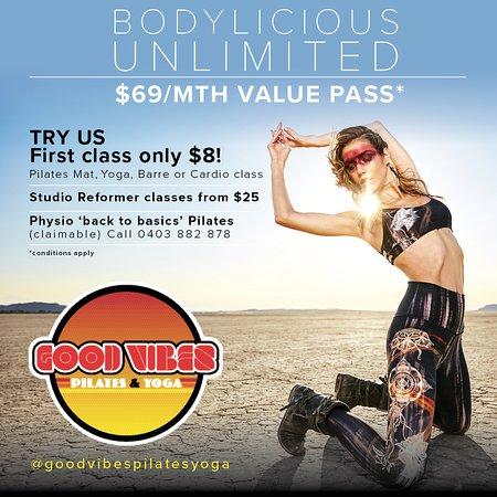 Good Vibes Pilates & Yoga: First class $8