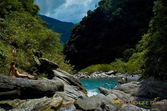 Hualien, Taiwan: Lounging in Emerald Valley. One of the Mugua River Gorge's finest swim spots.