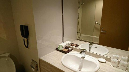 Lao Plaza Hotel: バスルーム。少し狭いですが十分です。