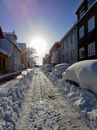 Loki 101 Guesthouse: Our street on a sunny & snowy day