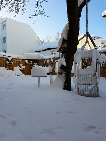 Loki 101 Guesthouse: Our patio in snow