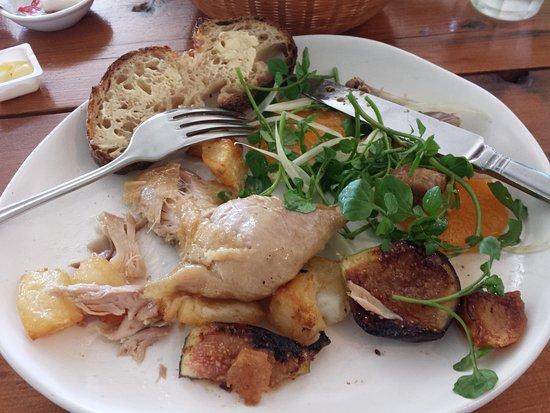 Tea Gardens, Australia: Confit Chicken with Figs, & Watercress salad