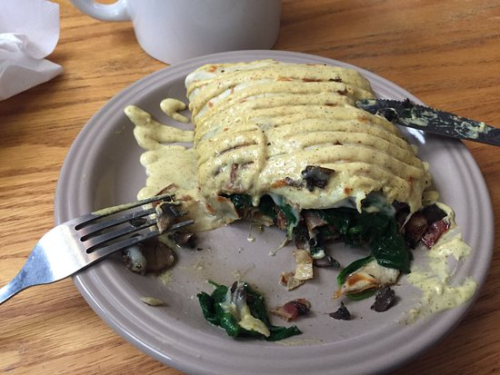 Lewisburg, PA: Savory crepe: bacon spinach mushroom Swiss cheese with mayo mustard drizzle