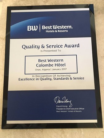 Best Western Hotel Colombe: QUALITY & SERVICE  AWARDS 2017  for   BEST WESTERN COLOMBE -Oran- Algeria
