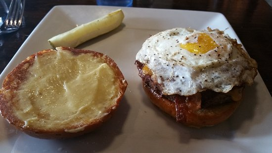 Wausau, WI: The Townie Burger. Watch out for the egg squirting out!